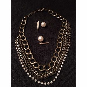 Jewelry - Bronze multi chain Necklace and Earring Set