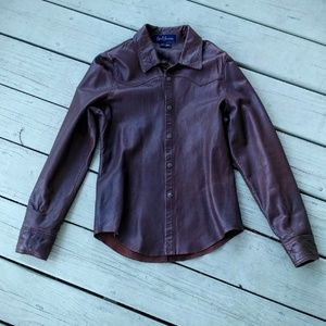 Earl Jeans Tops - EARL JEANS LEATHER SHIRT