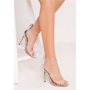 Clear perspex metallic silver Barely There heels