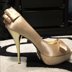 Luichiny Shoes - LUICHINY Gold Satin Pumps BRAND NEW | NEVER WORN