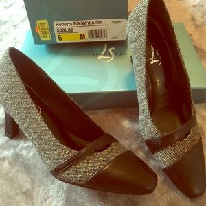 Black & white tweed w/ black leather detail heels