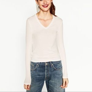 Zara v neck long sleeve top