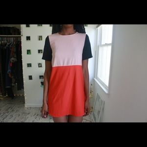 Peach Color Block Dress