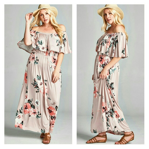 017eb09bbfcb PLUS SIZE Romantic Off On Shoulder Floral Maxi