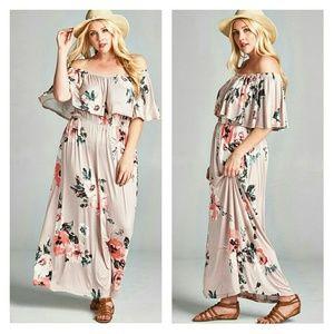 Dresses & Skirts - PLUS SIZE Romantic Off/On Shoulder Floral Maxi