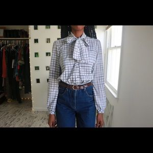 Collared Grid Blouse