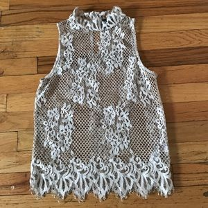 Topshop Tops - TOPSHOP cream lace high neck halter tank / sz 4