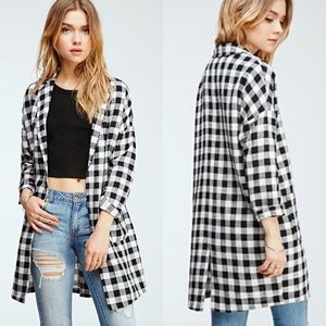 Checked Dolman duster jacket