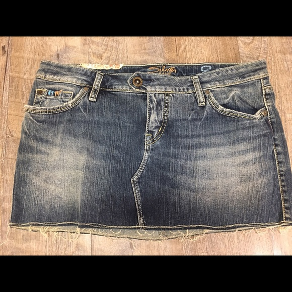 silver s mini jean skirt size 31 from