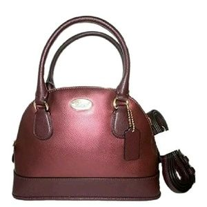 COACH MINI CORA DOME OXBLOOD METALLIC SATCHEL