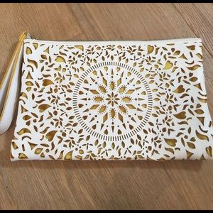 Carlos Santana Handbags - Cream & golden yellow large cutout clutch
