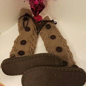 Muk Luks Shoes - Like new Knee high Muk Luks sweater boots size 9