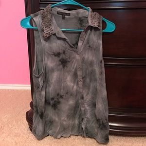 Lucca Couture Tops - Lucca Couture Grey Tie Dye Studded Collar Tank Top