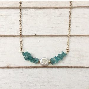 adorned by amie Jewelry - NEW BRASS, PEARL, & BLUE QUARTZITE NECKLACE