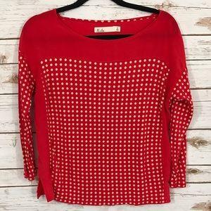Madewell Hi-Line Red Polka Dots 3/4 Sleeve Shirt S