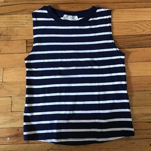 Zara Tops - ZARA navy & white W&B striped muscle tank / sm