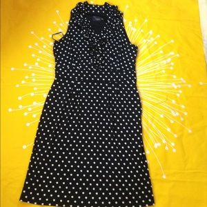 Just Taylor black polka dot ruffle front dress