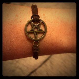 Retro Chic Jewelry - 🔥Retro bronze pentagram brown suede like bracelet