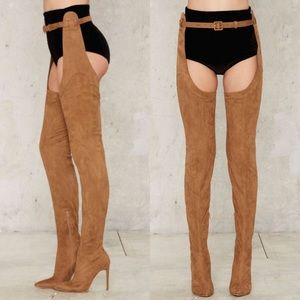 Jeffrey Campbell Maven taupe suede thigh high boot