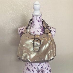 Coach Handbags - Coach Platinum Leather Hobo Shoulder Bag