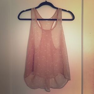 Tops - Light pink sheer razor back tank top cami