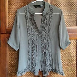 Norma Kamali Tops - Norma Kamali sheer grey ruffle button up blouse M