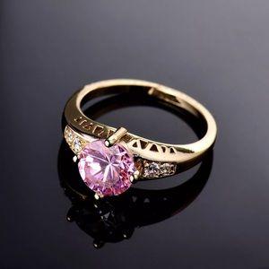 Pink Topaz CZ & 18K Gold Filled Ring, Size 8
