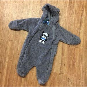 Mon Petit Other - Mon Petit Panda Bunting Gray Fleece 3-6 Mo New