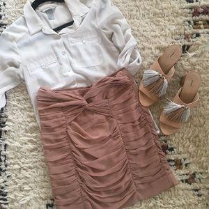Blush Ruched mini skirt
