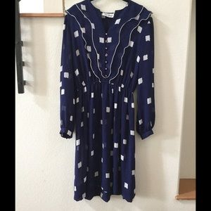 Vintage Blue Dress with White Squares