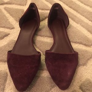 Burgundy Suede Pointed Toe Flats 9