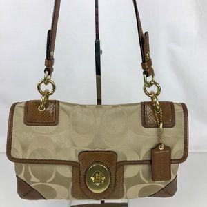 Coach Handbags - Coach Peyton Signature Sateen Flap Shoulder Bag
