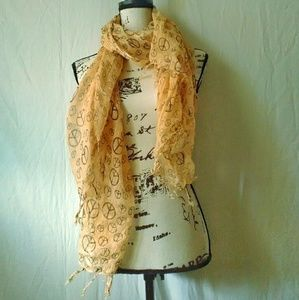 Vintage 90s Festival Peace Fringed Yellow Scarf