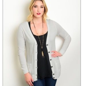 Sweaters - NEW PLUS gray button up cardigan sweater w/ pocket