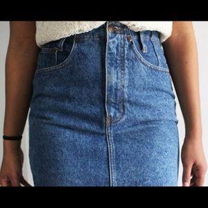 Acid Wash Denim Pencil Skirt