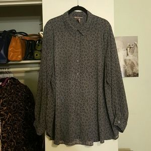 H&M Tops - H&M+ Animal Print Long-sleeved Sheer Blouse