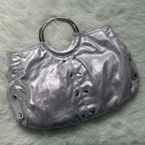 Top Handle Silver Handbag