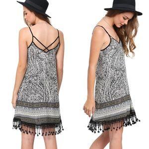 Boho Paisley Print Fringe Strappy Cami Dress XS
