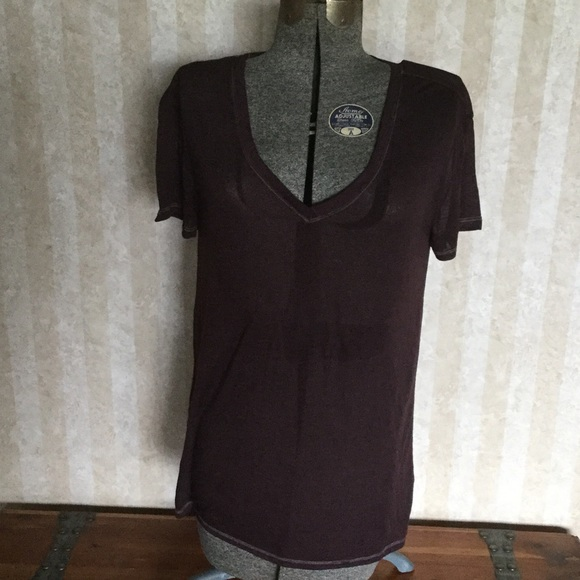GAP Tops - Burgundy sheer v-neck top.