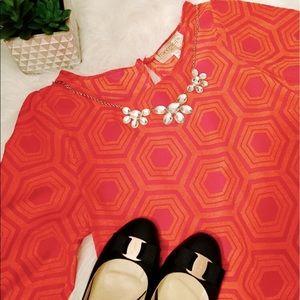 Francesca's Orange Pink Geometric Pattern Blouse