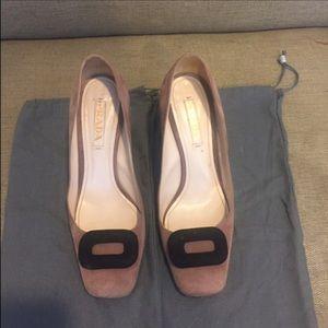 Prada Mauve black and chunky heel pump