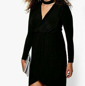 Boohoo Plus Dresses & Skirts - Boohoo Plus Bodycon Wrap Dress w/ Choker Neckline