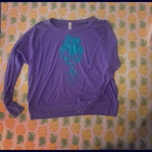 Periwinkle sweatshirt with aqua tree