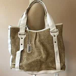 New Directions  Handbags - New Directions Burlap Bag and White
