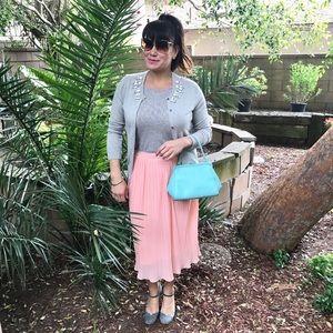 Mth Degree Dresses & Skirts - Peachy Pink Mini-Pleated Flowy Midi Skirt