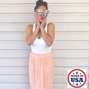 Mth Degree Dresses & Skirts - ‼️FINAL PRICE‼️Peach-Pink Mini-Pleated Flowy Skirt