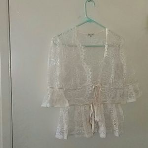 Delicate lace 3/4 sleeve cardigan with silk ties