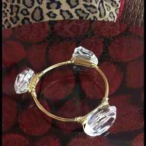 Jewelry - 🌟HP🌟Bangle - gold tone wire w/3 lge clear stones