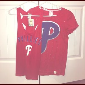 Two Victoria secret Phillies shirts
