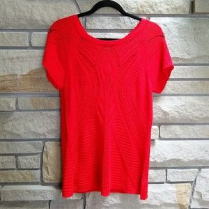 Fever London Tops - Fever salsa red open knit short sleeve sweater